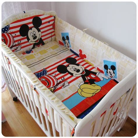 mickey mouse baby crib promotion 6pcs mickey mouse baby bedding crib set baby