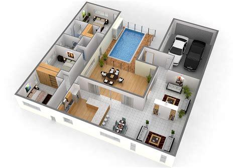 Simple 2 Bedroom House Plans 2 story 3d floor plan with nice simple bedroom house