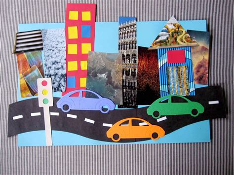 collage crafts for quot on the road quot collage craft for using magazine cut