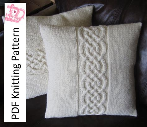 cable cushion cover knitting pattern cable knit pillow cover pattern knit pattern pdf celtic knot