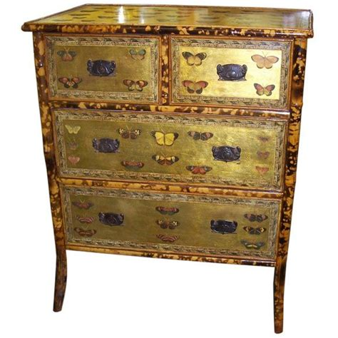 antique decoupage antique bamboo chest of drawers with butterflies decoupage