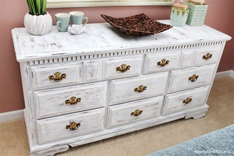 chalk paint in white distressed white dresser makeover how to nest for less