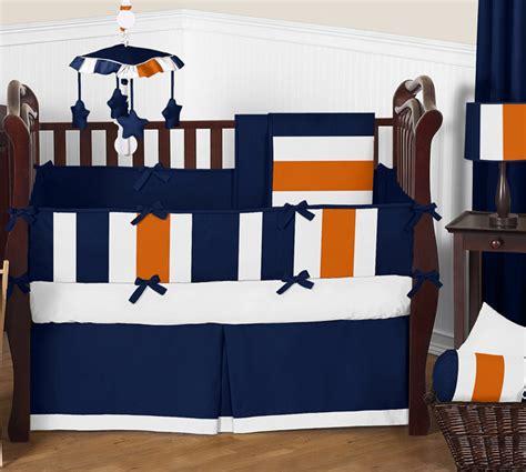 stripe navy blue and orange crib bedding collection