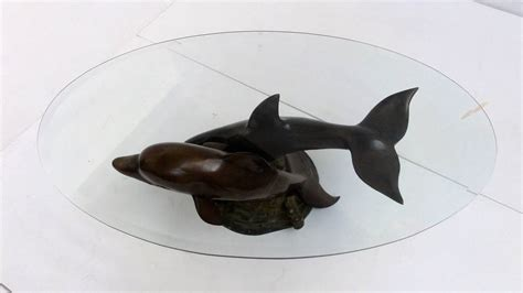 dolphin coffee table decorative casted bronze dolphins coffee table at 1stdibs