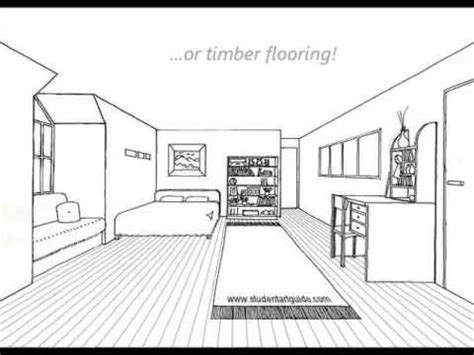 how to draw a bedroom one point perspective room tutorial