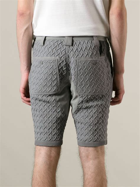 knitted shorts moncler knitted shorts in gray for lyst