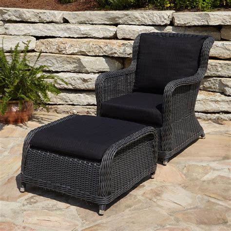 outdoor wicker chairs alcee resin wicker outdoor chair and ottoman set outdoor