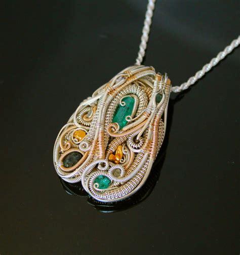Heady Wire Wrapped Pendant Wrap Jewelry Handmade Emerald