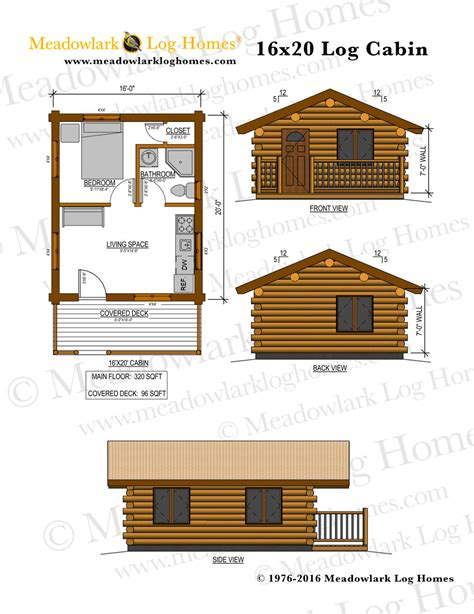16 x 16 cabin floor plans 16x20 log cabin meadowlark log homes