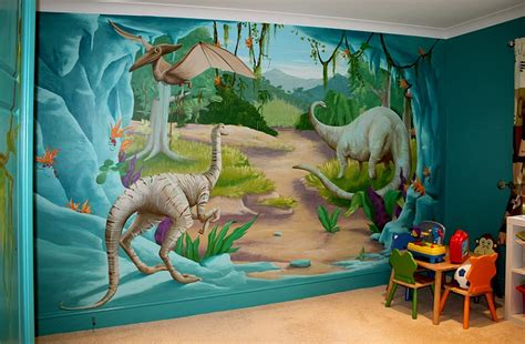 dinosaurs murals walls bedrooms with dinosaur themed wall and murals