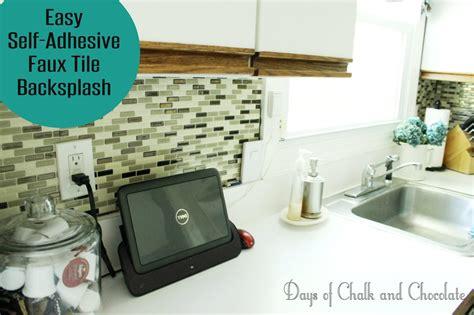 adhesive kitchen backsplash easy diy self adhesive faux tile backsplash days of chalk and chocolate