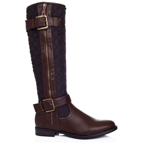 leather knee high boots for buy oasis flat knee high biker boots brown leather style
