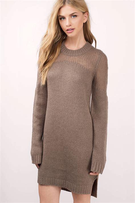 sweater knit dress taupe day dress sleeve dress 29 00