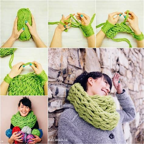 how to finger knit a scarf wonderful diy easy arm knitting for beginners