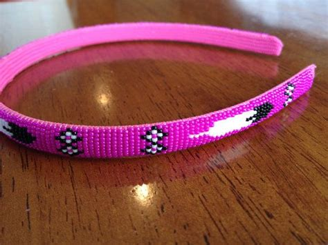 American Beaded Headband Pink