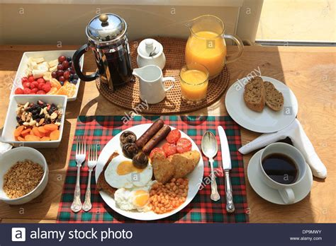 The morning starts with a good English breakfast, at a bed and Stock Photo, Royalty Free Image