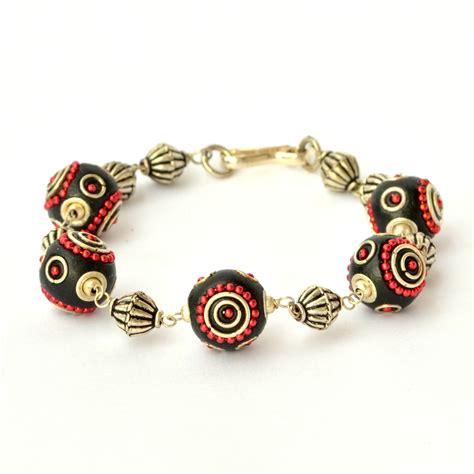 handmade bead bracelets handmade bracelet black with metal chain