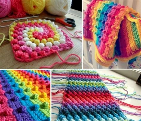 how to knit a bobble button bobble stitch crochet blanket pattern tutorial