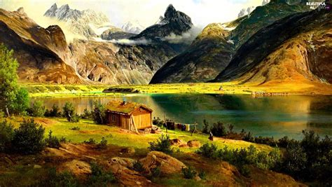 mountain cottages lake cottage mountains beautiful views wallpapers