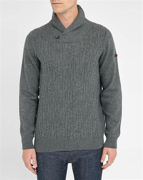 grey shawl neck cable knit cardigan ben sherman grey cable knit shawl collar sweater in gray