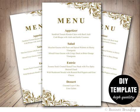 antique gold menu template diy wedding menu by