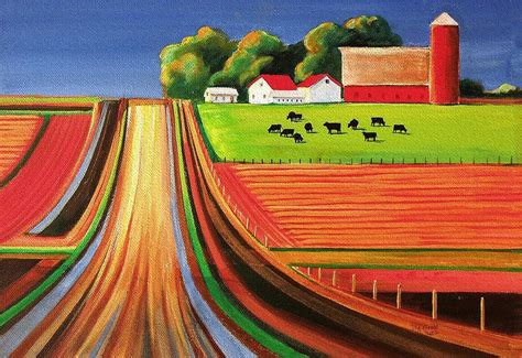 folk acrylic paint on canvas folk farm painting by toni grote