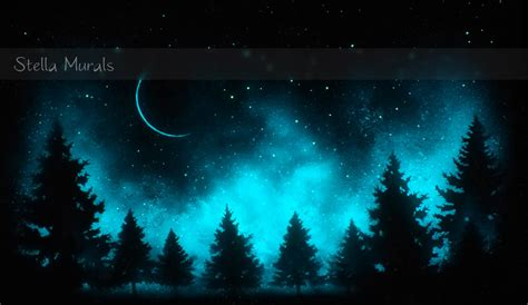 glow in the painting tree glow in the painting trees a bright starry