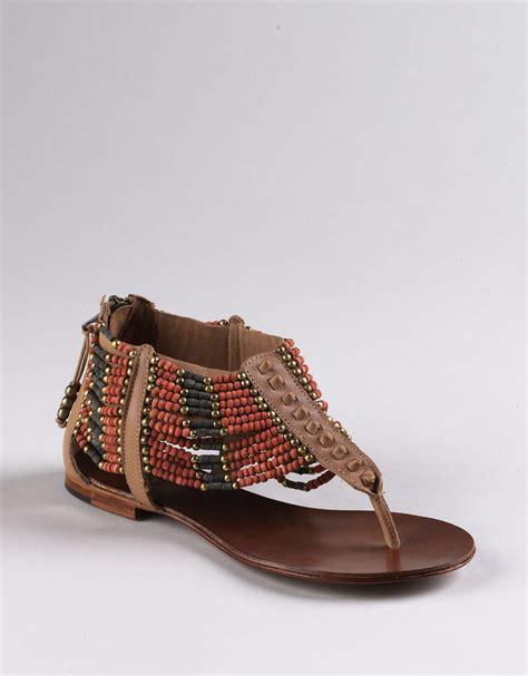 beaded shoes ash molly beaded flat sandals in brown leather lyst