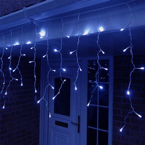 blue icicle lights 10 metre led icicle lights in blue connectable 320 led s