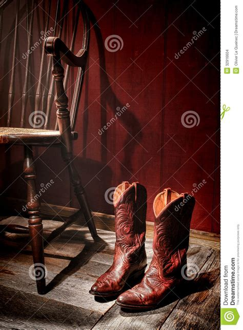 4 Bedroom Cabin Plans american west rodeo cowgirl boots and old chair stock