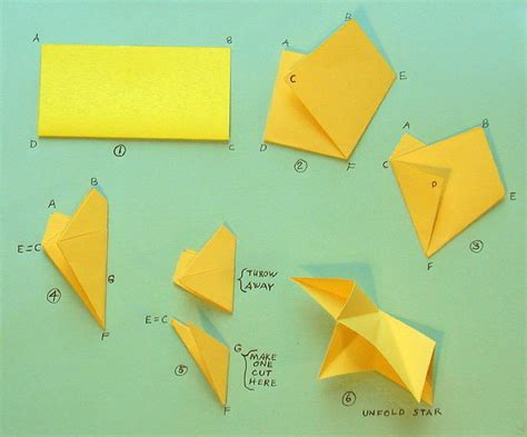5 step origami 5 point paper relief free