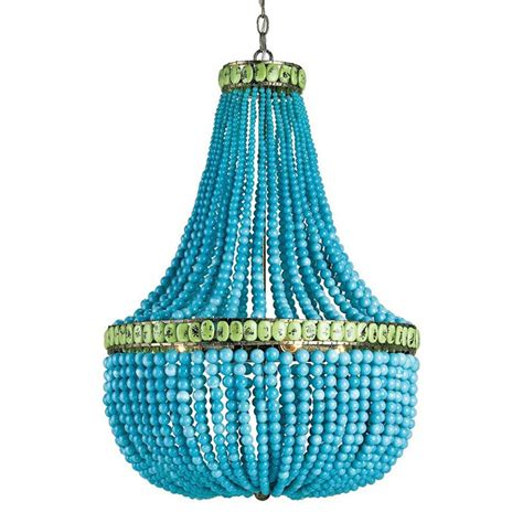 Turquoise Blue Beaded Coastal 3 Light Chandelier