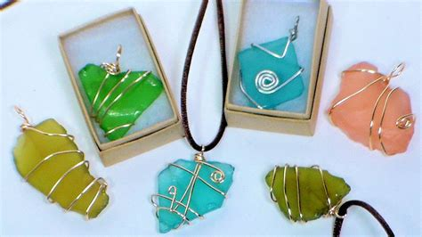 how to make jewelry out of sea glass diy wire wrapped sea glass pendants