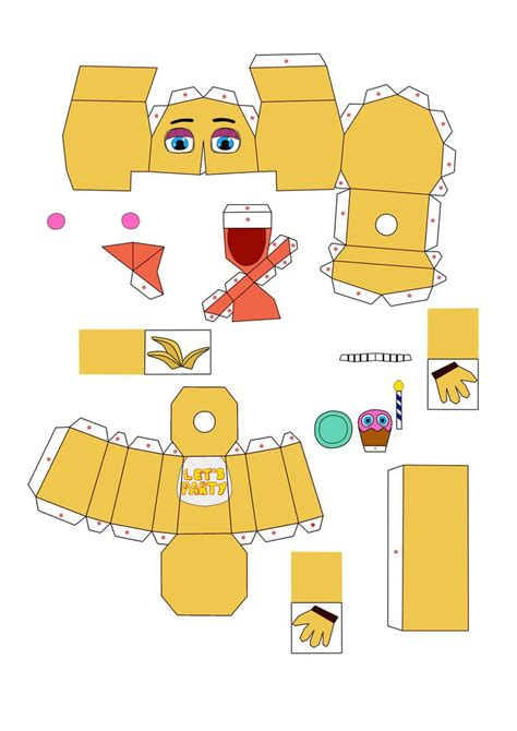 paper craft toys five nights at freddy s 2 chica papercraft pt1 by
