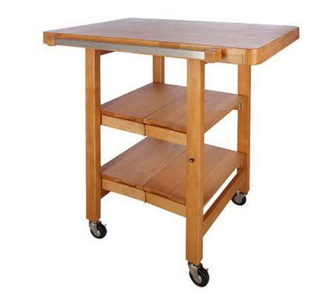 folding kitchen island cart folding island rectangular kitchen cart w butcher block style top page 1 qvc