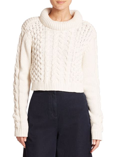 cropped cable knit sweater tibi chunky cable knit cropped sweater in white lyst
