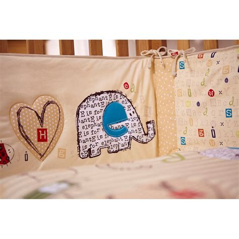 cot bedding and bumper sets cot quilt and bumper bedding set in abc design nursery