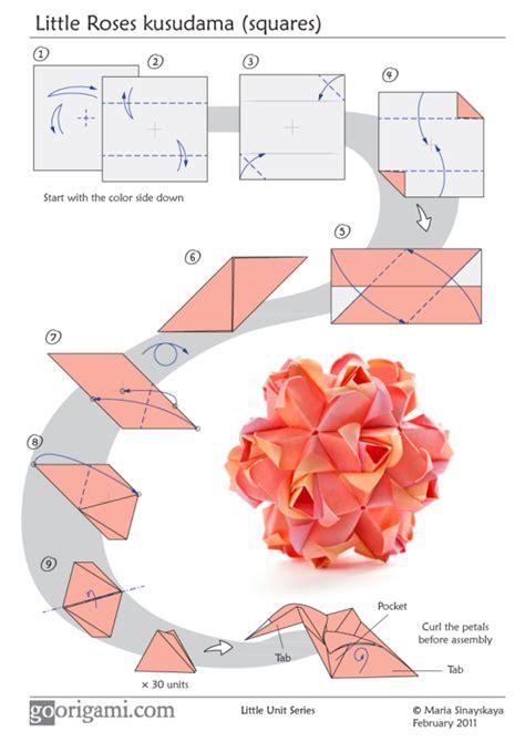 origami diagram roses kusudama by sinayskaya diagram go