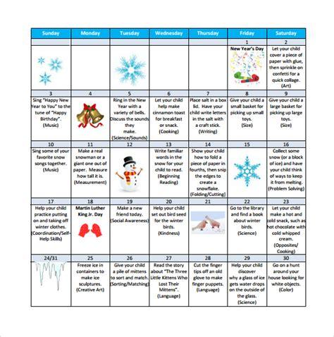 preschool calendar templates 8 download free documents