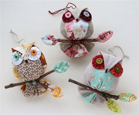owls ornaments patchworkpottery owl ornaments