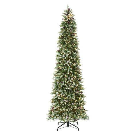 led pencil tree martha stewart living 9 ft indoor pre lit dunhill fir