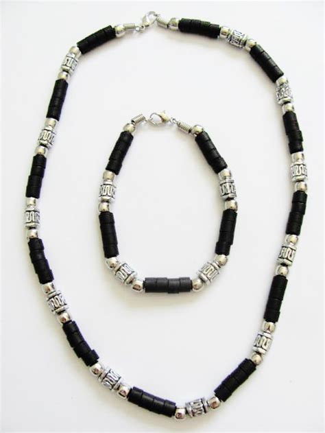 mens beaded jewelry black beaded necklace for mens images