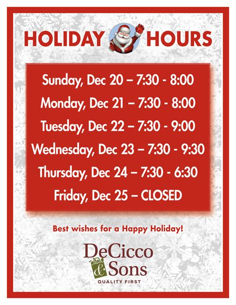 store hours hours decicco sons