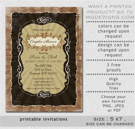 shabby chic wedding invitation templates printable vintage rustic shabby chic couples wedding
