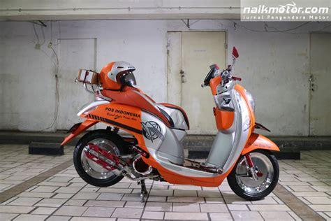 Modifikasi Motor Scoopy by Menganyekan Layanan Pos Indonesia Dengan Modifikasi Scoopy