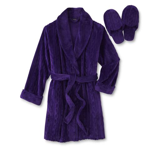 cable knit robe covington s embossed robe slippers cable knit