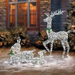 reindeer outdoor lights led lighted wireframe reindeer family outdoor