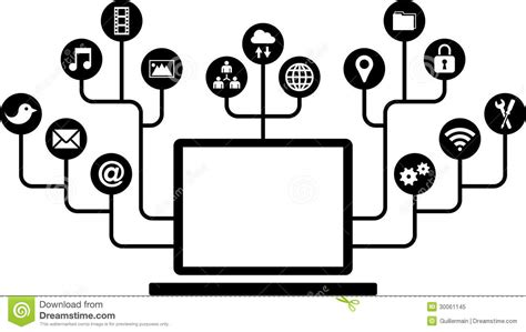 computer tree computers function icons royalty free stock photo image
