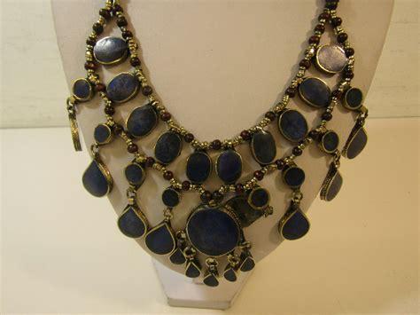 metal work jewelry handmade silver tone metal work jewelry bib necklace lapis