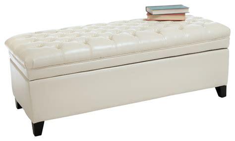 white leather storage ottoman bench barton leather storage ottoman bench ivory contemporary
